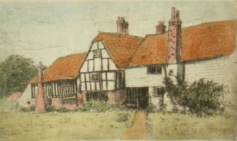Original Ltd edition etching 'Old Cottages' pencil signed Michael Blaker.